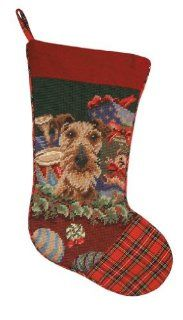 123 Creations C591.11x17 inch Airedale Christmas Stocking in Needlepoint   100 Percent Wool