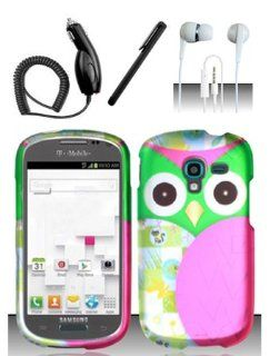 4 Items Combo For Samsung Galaxy Exhibit T599 (T Mobile) Colorful Pink Owl Design Snap On Hard Case Protector Cover + Car Charger + Free Stylus Pen + Free 3.5mm Stereo Earphone Headsets: Cell Phones & Accessories