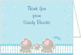 Elephant Family   Boy Baby Shower Thank You Cards   Set of 20 Baby