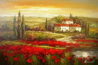 Flower Field Landscape Painting Italian Tuscany Red Poppy Field 100% Hand Painted Art Wall Art Canvas Art Abstract Oil Painting  (Unframed and Unstretched)