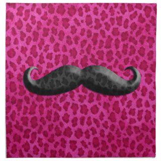 Hipster Girly Pink Cheetah Print And Mustache Printed Napkins