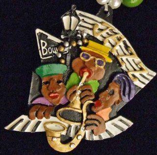 Bourbon Street Sign Jazz Beads Necklace New Orleans Mardi Gras Spring Break Cajun Carnival Festival