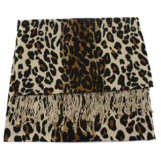 Leopard Animal Print Scarf in Silk Pashmina (50% Silk  50% Pashmina) with Tassels / Fringes