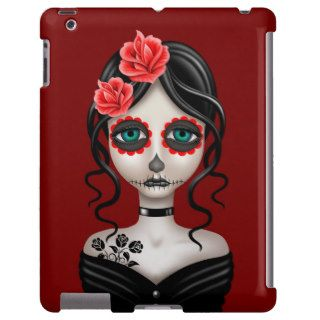 Sad Day of the Dead Girl on Red