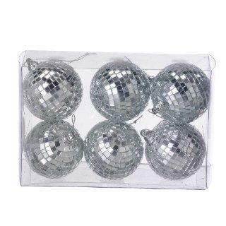 """Pack of 6 Mirrored Disco Ball Christmas Ornaments 2.25"""""""