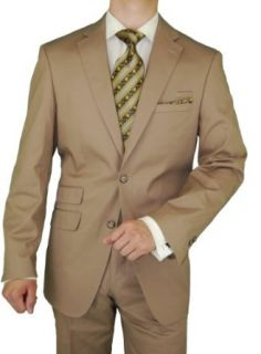 Bianco Brioni Men's Taupe Cotton Stretch Modern Fit Ticket Pocket Suit at  Men�s Clothing store