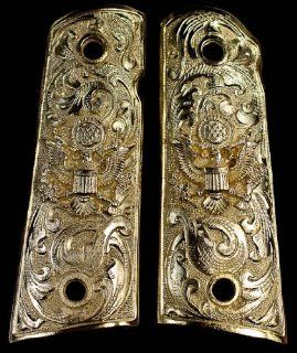 Gold 1911 Gun Grips American Eagle Floral Scroll Engraved Design : Sports & Outdoors
