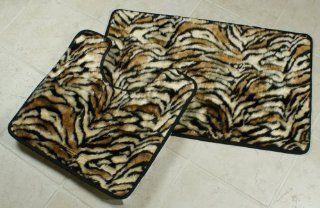TIGER 3 PIECE FAUX FUR RUG, CONTOUR AND LID COVER SET   Bath Rugs