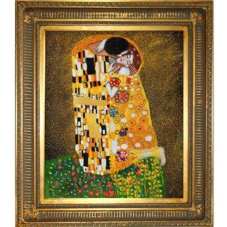Art KL1839 FR 655G20X24 Gustav Klimt The Kiss 20 Inch by 24 Inch Framed Oil Painting on Canvas, Full View