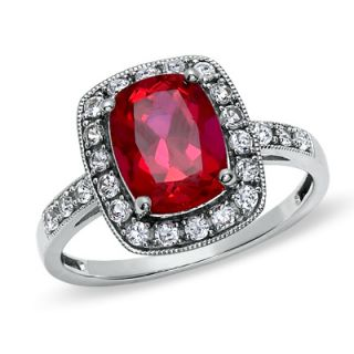 Cushion Cut Lab Created Ruby and White Sapphire Frame Ring in 14K