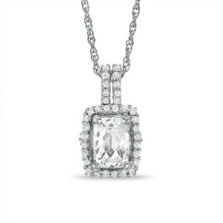 Cushion Cut White Topaz Framed Pendant in Sterling Silver   Zales