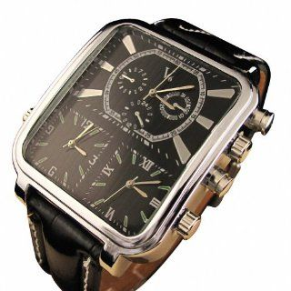Youyoupifa Double Quartz Movement Synthetic Leather Strap Men's Wrist Watch (Black) at  Men's Watch store.