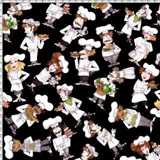 By HALF YARD Loralie Designs Whats Cookin? TOSSED CHEFS Black 691 882 Quilting Cotton Sewing Fabric