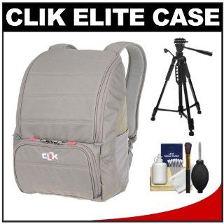 Clik Elite Jet Pack 17 Digital SLR Camera Backpack Case (Gray) with Tripod Kit for Canon EOS 7D, 5D Mark II III, 60D, Rebel T3, T3i, Nikon D3100, D3200, D5100, D7000, D800, Sony Alpha A37, A55, A57, A65, A77 : Camera & Photo