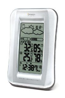 Oregon Scientific BAR688HGA Wireless Weather Station with Temperature/Humidity Display and Self  Setting Atomic Clock, White/Silver   Outdoor Thermometers