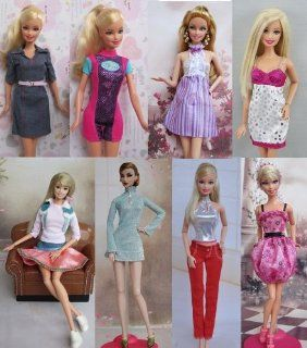 Group of 8 Fashtion Cocktail Dresses Made to Fit the Barbie Doll (8 Clothes Set) Toys & Games
