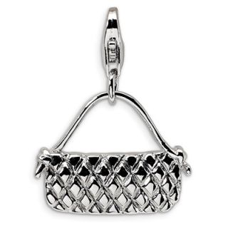Amore La Vita™ Quilted Purse Charm in Sterling Silver   Zales