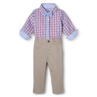 G Cutee Newborn Boys 3 Piece Shirtzie, Pant and Bow Tie   Red Hot 12 M