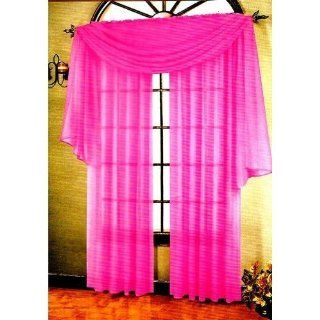 HLC.ME Voile Sheer Curtain Hot Pink 216 in. Scarf   Window Treatment Scarves