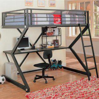 Contemporary Black Metal Loft Bed & Computer Workstation Furniture & Decor