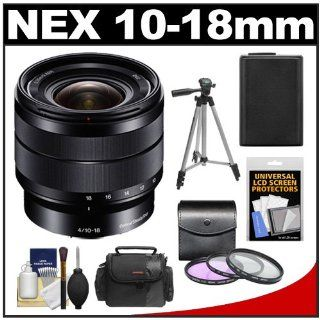 Sony Alpha E Mount 10 18mm f/4.0 OSS Wide angle Zoom Lens with Battery + Case + 3 (UV/FLD/CPL) Filters + Tripod + Accessory Kit for A7, A7R, A3000, A5000, A6000, NEX 3N, 5T, 6, 7 Digital Cameras : Camera Lenses : Camera & Photo