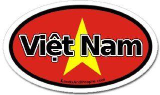 Vietnam in Vietnamese and Vietnamese Flag Car Bumper Sticker Decal Oval Automotive