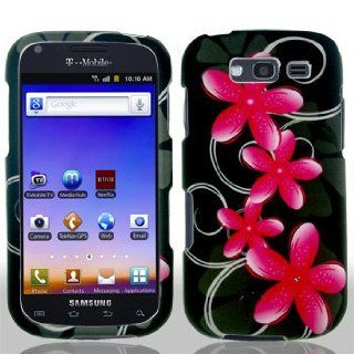 Samsung Galaxy Blaze 4G 4 G T769 T 769 Black with Pink Floral Flowers Black Swirl Vines Design Snap On Hard Protective Cover Case Cell Phone Cell Phones & Accessories