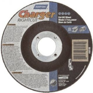 """Norton Charger Plus Right Cut Right Angle Grinder Reinforced Abrasive Flat Cut off Wheel, Type 27, Zirconia Alumina and Aluminum Oxide, 7/8"""" Arbor, 5"""" Diameter x 0.045"""" Thickness (Pack of 2) Abrasive Cutoff Wheels Industrial & Scientif"""