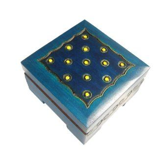 "Wooden Box, 5424, Traditional Polish Handcraft, Hinged, Blue with Branded and Brass Inlaid Dots, 3""x3""x1.5"" with .25"" Foot. : Decorative Boxes : Everything Else"