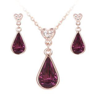 Golden Plated Rain Drop Deep Purple Swarovski Crystal Necklace and Dangle Earrings Jewelry Set S73: Jewelry