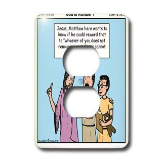 lsp_2624_6 Rich Diesslins Funny Cartoon Gospel Cartoons   Jesus   God is Number One   Light Switch Covers   2 plug outlet cover   Electrical Outlet Covers