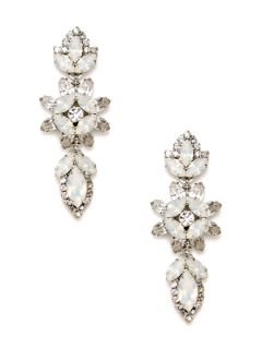 White Opal Crystal Floral Drop Earrings by Elizabeth Cole