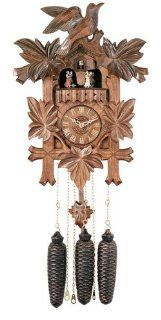 River City Clocks MD841 16 Eight Day Musical Cuckoo Clock with Dancers, Five Hand Carved Birds And Maple Leaves, 16 Inch Tall