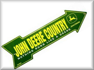 John Deere Country Signs Size: 6x20 Arrow Sign Yellow & White on Green Background: Automotive