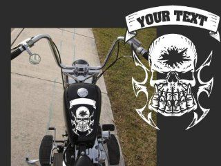 """Motorcycle Skull with Custom Text Top Gas Tank Decal Harley 10""""x8"""""""