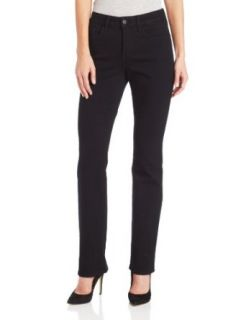 NYDJ Women's Marilyn Straight Leg Jean Beaded Pockets, Black, 0