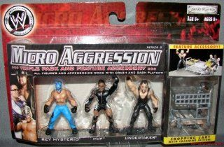 WWE Micro Aggression 3 Pack #16   John Cena, Rey Mysterio, Undertaker   BONUS TRASH CAN: Toys & Games