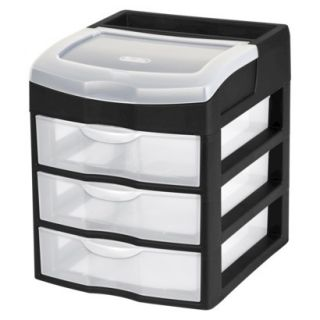 Sterilite 3 Drawer Desktop Storage Unit   Black