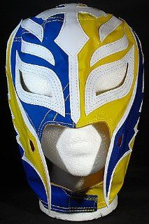 REY MYSTERIO BLUE & YELLOW HALF MASK KID SIZED REPLICA WRESTLING MASK: Sports & Outdoors