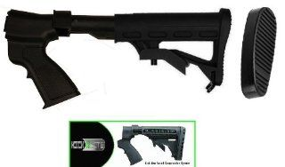 Ultimate Arms Gear Tactical Stealth Black Remington 870 12 Gauge Shotgun Skeleton Stock Buttstock Set With Sling Swivel + Recoil Buttpad + Rear Pistol Grip & Featuring Patented Phoenix Technology Kicklite Recoil Reduction Stock Tube  Gunsmithing Tools