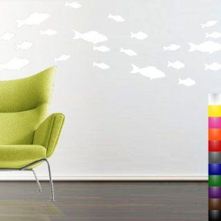 StikEez White School of Fish 21 Pack Fun Sizes Wall & Window Decals   Wall Decor Stickers