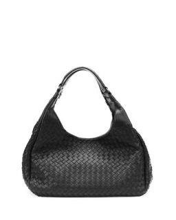 Medium Woven Napa Hobo Bag, Black   Bottega Veneta