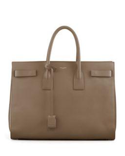 Classic Sac De Jour Leather Tote Bag, Beige   Saint Laurent