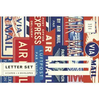 Par Avion   Air Mail Cavallini Letter Set Cards with Envelopes