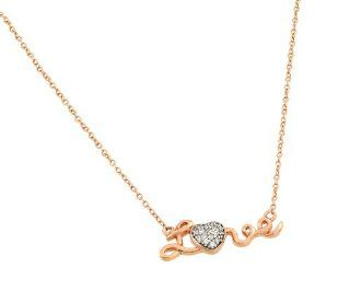 "Pink Rose Gold Plated 925 Sterling Silver Pave Cubic Zirconia CZ Cursive ""Love"" Charm Pendant Necklace with 16"" 18"" Adjustable Link Chain: Jewelry"
