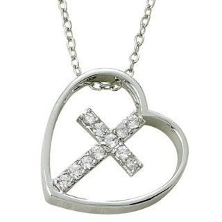 ".925 Sterling Silver Heart Neclace with Tilted CZ Crystal Cross Pendant Women's Religious Jewelry Religious Heart Jewelry Gift Boxed.w/Chain Necklace 18"" Length Gift Boxed. Jewelry"