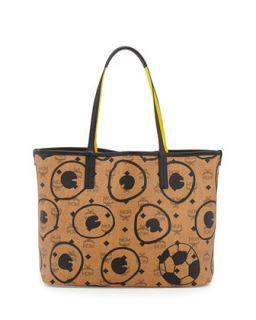 Soccer Special Edition Visetos Shopper Tote Bag, Cognac   MCM