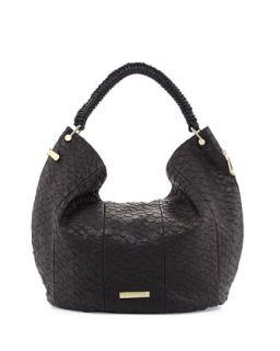 Skye Snake Embossed Leather Hobo Bag, Black   VC Signature