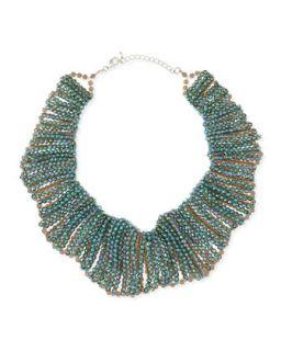 Crystal Beaded Scallop Collar Necklace   Panacea