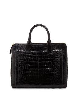 Modern Double Zip Crocodile Tote Bag, Black   Nancy Gonzalez